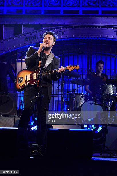 LIVE 'Taraji P Henson' Episode 1680 Pictured Marcus Mumford of musical guest Mumford Sons performs on April 11 2015