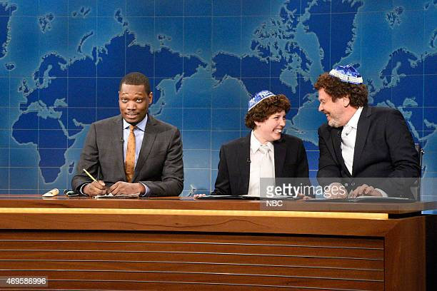 LIVE Taraji P Henson Episode 1680 Pictured Michael Che Vanessa Bayer as Jacob the Bar Mitzvah Boy and Billy Crystal during Weekend Update on April 11...