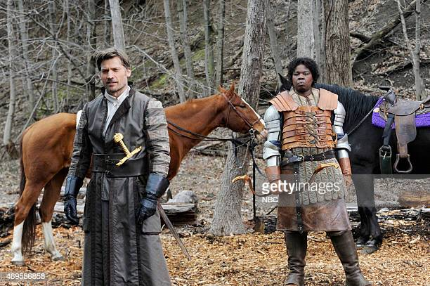 LIVE 'Taraji P Henson' Episode 1680 Pictured Nikolaj CosterWaldau and Leslie Jones during the 'Game of Thrones' skit on April 11 2015