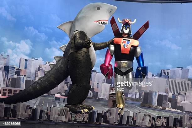 LIVE Taraji P Henson Episode 1680 Pictured Shark monster and Connectatron during the Connectatron skit on April 11 2015