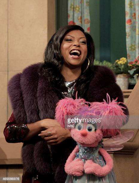 LIVE 'Taraji P Henson' Episode 1680 Pictured Taraji P Henson as Cookie and Abby Cadabby during the 'Sesame Street Promo' skit on April 11 2015