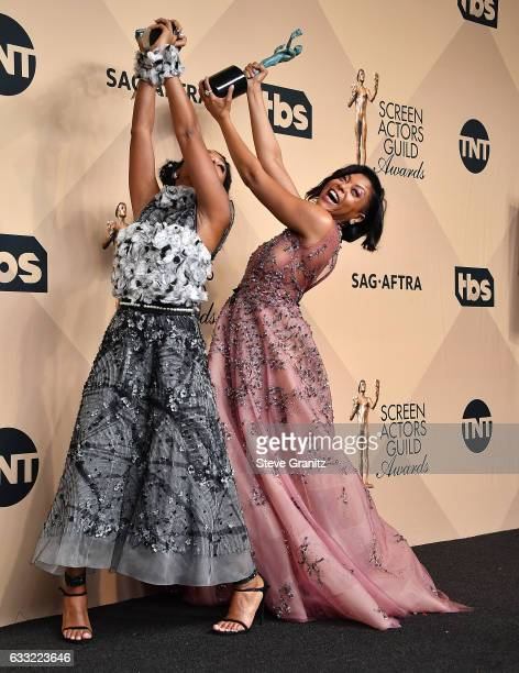 Taraji P Henson Janelle Monae poses at the 23rd Annual Screen Actors Guild Awards at The Shrine Expo Hall on January 29 2017 in Los Angeles California