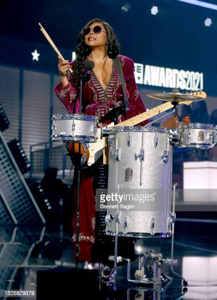 Taraji P. Henson performs onstage at the BET Awards 2021 at Microsoft Theater on June 27, 2021 in Los Angeles, California.