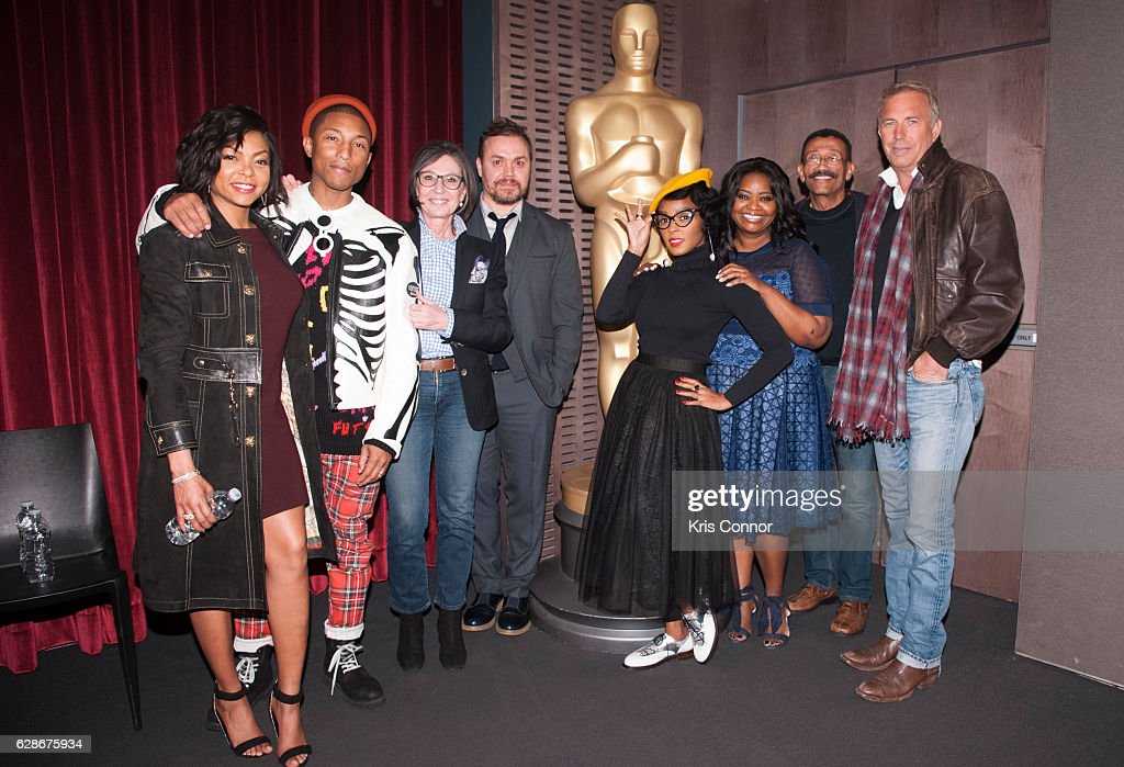 Taraji P. Henson, Pharrell Williams, Ted Melfi, Patrick Harrison, Janelle Monae, Octavia Spencer, Wynn Thomas and Kevin Costner attend an official academy screening of HIDDEN FIGURES hosted by the The Academy of Motion Picture Arts and Sciences at MOMA - Celeste Bartos Theater on December 8, 2016 in New York City.