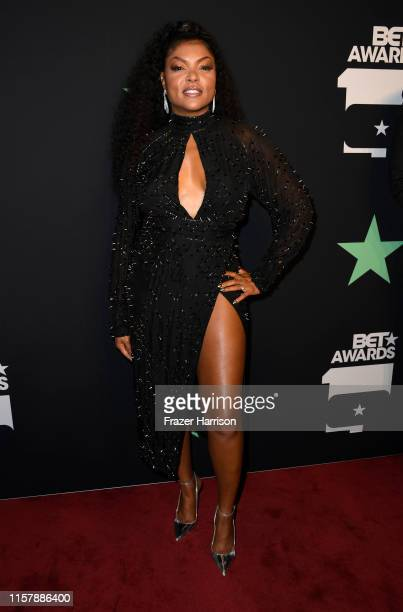 Taraji P Henson poses in the press room at the 2019 BET Awards on June 23 2019 in Los Angeles California
