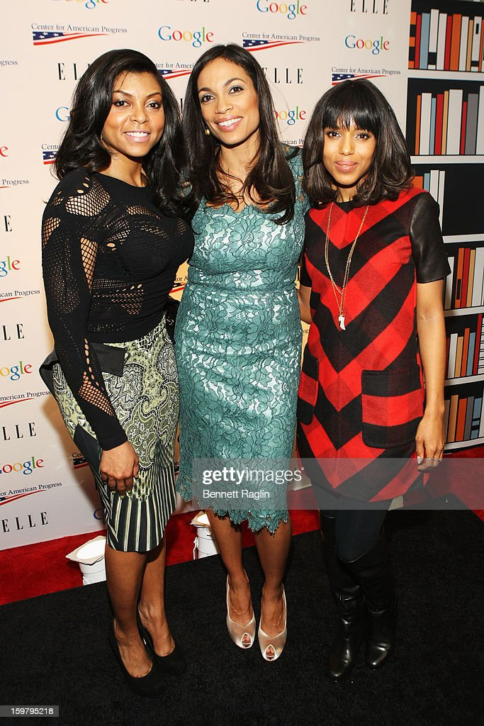 Taraji P. Henson, Rosario Dawson, and Kerry Washington attend a celebration for leading women in Washington hosted by GOOGLE, ELLE, and The Center for American Progress on January 20, 2013 in Washington, United States.