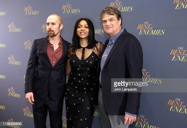 Taraji P Henson Sam Rockwell and Robin Bissell attend 'The Best Of Enemies' New York Photo Call at the Whitby Hotel on March 17 2019 in New York City