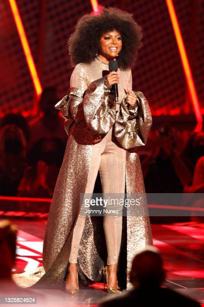 Taraji P. Henson speaks onstage at the BET Awards 2021 at Microsoft Theater on June 27, 2021 in Los Angeles, California.