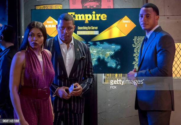 Taraji P Henson Terrence Howard and Trai Byers in the 'Bloody Noses Crack'd Crowns' episode of EMPIRE airing Wednesday May 16 on FOX