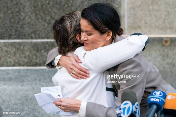 Tarale Wulff hugs her attorney Gloria Allred after the sentencing of Hollywood mogul Harvey Weinstein in New York Criminal Court on March 11 2020 in...