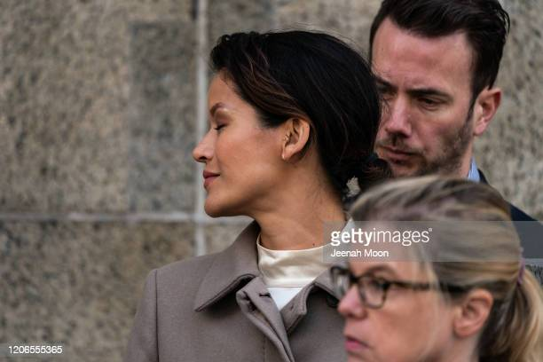 Tarale Wulff reacts after the sentencing of Hollywood mogul Harvey Weinstein in New York Criminal Court on March 11 2020 in New York City Harvey...