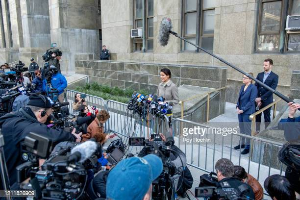 Tarale Wulff speaks to the media outside the courthouse after movie mogul Harvey Weinstein was sentenced to 23 years in prison on March 11 2020 in...