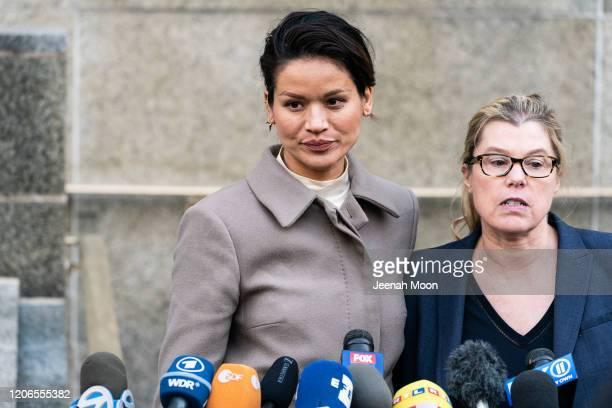 Tarale Wulff speaks to the press after the sentencing of Hollywood mogul Harvey Weinstein in New York Criminal Court on March 11 2020 in New York...