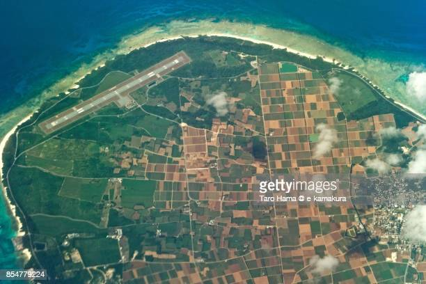 Tarama Island in Okinawa prefecture daytime aerial view from airplane
