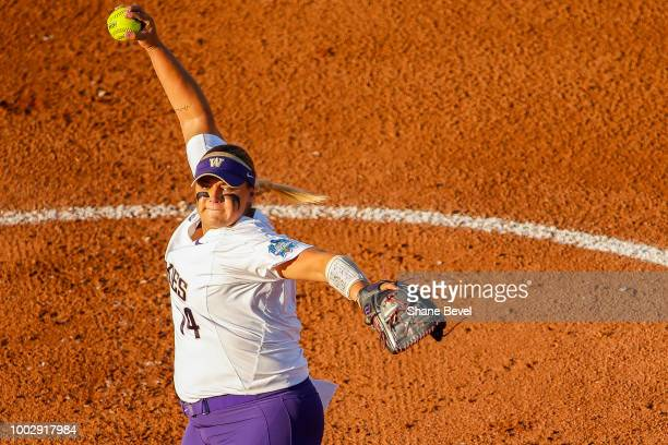 Taran Alvelo of Washington pitches during game two of the Division I Women's Softball Championship held at USA Softball Hall of Fame Stadium OGE...
