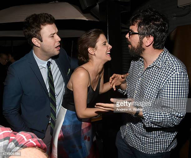 Taran Killam Cobie Smulders and Director Andrew Bujalski attend the after party for Magnolia Pictures' 'Results' premiere hosted by The Cinema...