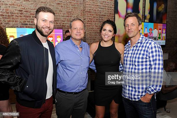 Taran Killam Michael Shoemaker Cecily Strong and Seth Meyers attend 'The Awesomes' Season 3 Premiere Party Screening at Microsoft Lounge on September...