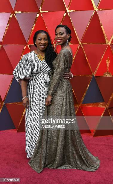 Tarana and Kaia Burke arrive for the 90th Annual Academy Awards on March 4 in Hollywood California / AFP PHOTO / ANGELA WEISS