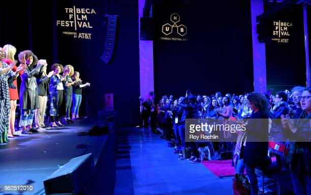 Tarana Burk Mira SorvinoFatima Goss Graves and Amber Tamblyn speak onstage at 'Time's Up' during the 2018 Tribeca Film Festival at Spring Studios on...