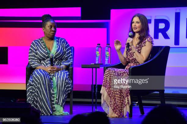 """Tarana Burke and Ashley Judd speak onstage at """"Time's Up"""" during the 2018 Tribeca Film Festival at Spring Studios on April 28, 2018 in New York City."""