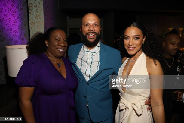 Tarana Burke Common and Angela Rye attends Common's 5th Annual Toast to the Arts at Ysabel on February 22 2019 in West Hollywood California