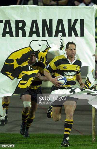 Taranaki captain Andy Slater leads his team onto Rugby Park New Plymouth for the Air New Zealand National Provincial first division match against...