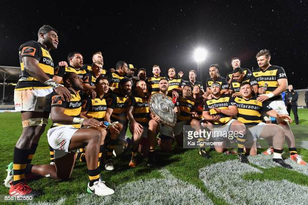Taranaki celebrate winning the Ranfurly Shield during the round eight Mitre 10 Cup match between Canterbury and Taranaki at AMI Stadium on October 6...
