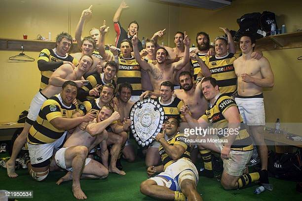Taranaki celebrates after winning the Ranfurly Shield the round 12 ITM Cup match between Southland and Taranaki at Rugby Park Stadium on August 24...