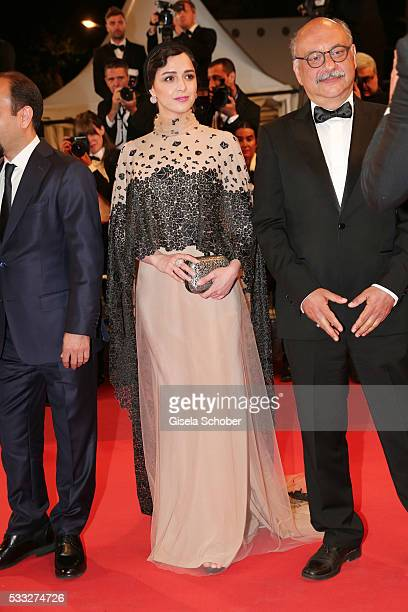Taraneh Alidoosti and Babak Karimi attend the The Salesman during the 69th annual Cannes Film Festival at the Palais des Festivals on May 21 2016 in...