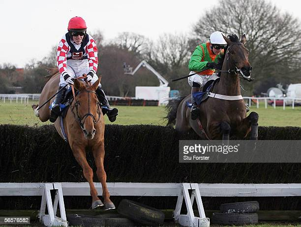 Taranis ridden by Tony McCoy clears the second last ahead of Dickensbury Lad ridden by Antony Evans on its way to victory during The Concha Y Toro...