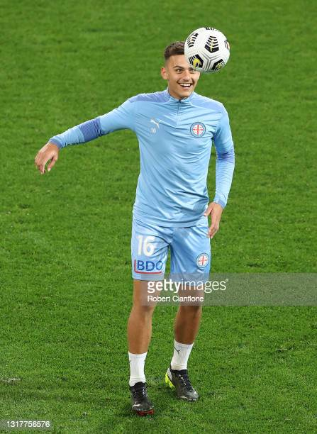 Taras Gomulka of Melbourne City warms up prior to the A-League match between Melbourne City and Adelaide United at AAMI Park, on May 13 in Melbourne,...