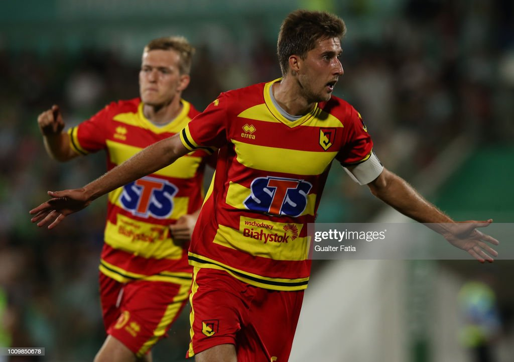 Taras Romanczuk from Jagiellonia celebrates after scoring a goal during the UEFA Europa League Second Qualifying Round 2nd Leg match between Rio Ave FC and Jagiellonia at Estadio dos Arcos on August 2, 2018 in Vila do Conde, Portugal.
