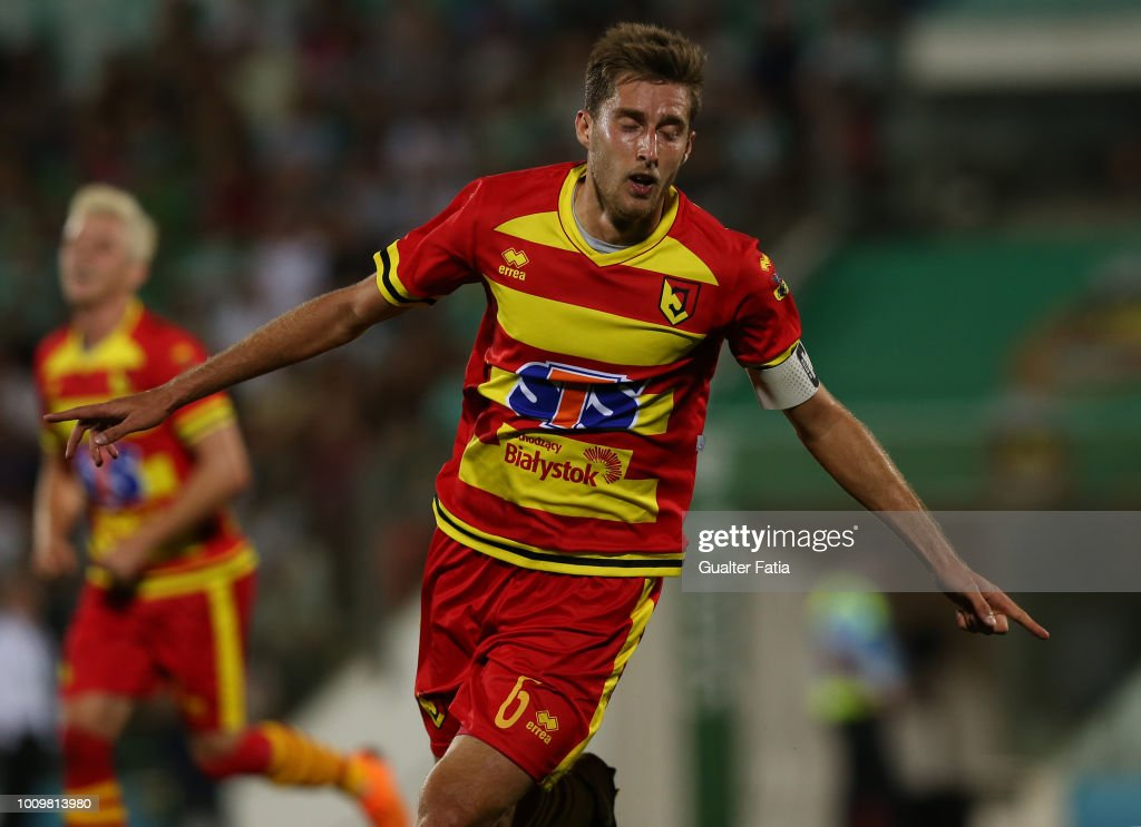 Taras Romanczuk of Jagiellonia celebrates after scoring a goal during the UEFA Europa League Second Qualifying Round 2nd Leg match between Rio Ave FC and Jagiellonia at Estadio dos Arcos on August 2, 2018 in Vila do Conde, Portugal.