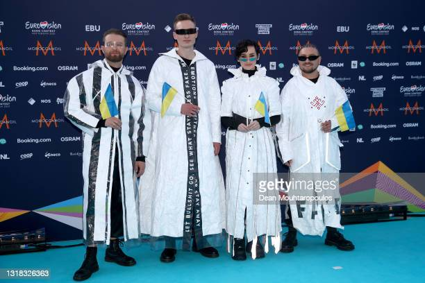Taras Shavchenko, Ihor Didenchuk, Kateryna Pavlenko and Ivan Hryhoryak of Go_A of Ukraine arrive at the 65th Eurovision Song Contest held at...