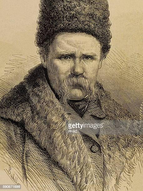 Taras Shevchenko Ukrainian poet Portrait Engraving by La Ilustracion Espanola y Americana 1877