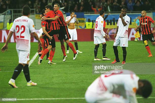 Taras Stepanenko of Shakhtar celebrates his team's second goal with team mates during the UEFA Europa League Semi Final first leg match between...