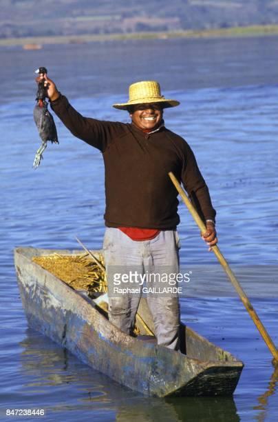 A Tarascan fisherman on the Lake of Patzcuaro in November 1987 in Mexico