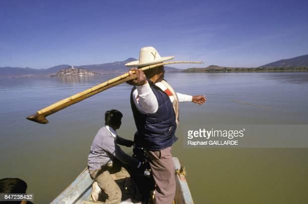 Tarascan fishermen on Lake of Patzcuaro in November 1987 in Mexico
