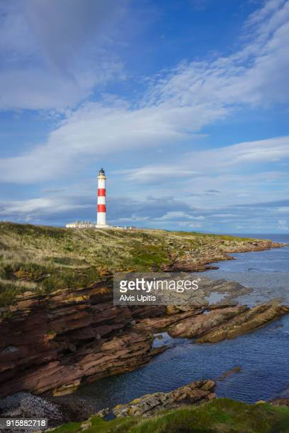 Tarbat Ness Lighthouse overlooks Dornoch and Moray Firths near Port Mahadnock, Scotland