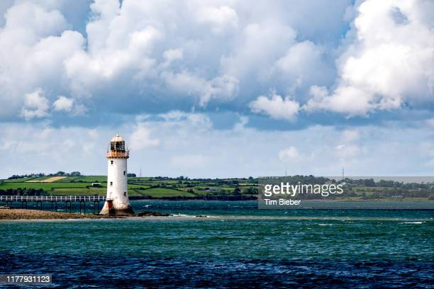tarbert lighthouse on the shannon estuary county kerry - estuary stock pictures, royalty-free photos & images