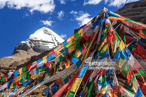 Tarboche Pole With Mount Kailash, Tibet