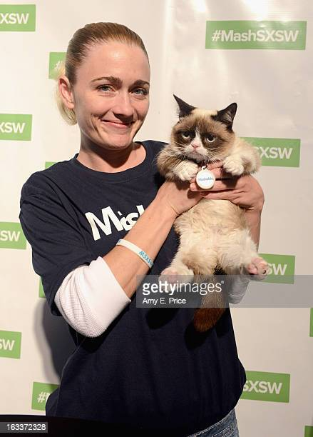 Tardar Sauce aka Grumpy Cat and owner Tabatha Bundesen make a personal appearance at the Mashable House during the 2013 SXSW Music Film Interactive...