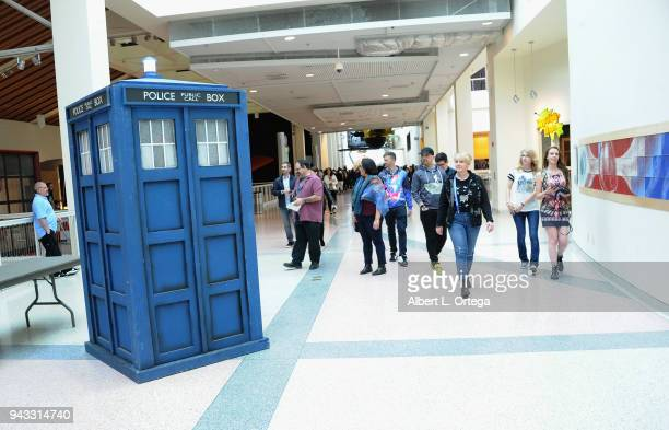 Tardis from Doctor Who at the 2018 Yuri's Night Earthrise event held at California Science Center on April 7 2018 in Los Angeles California