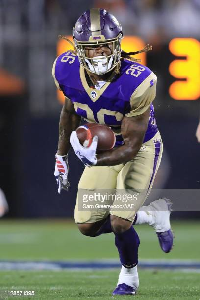 Tarean Folston of Atlanta Legends carries the ball against the Orlando Apollos during the first quarter on February 09 2019 in Orlando Florida