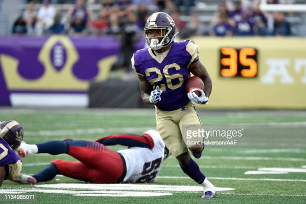 Tarean Folston of Atlanta Legends carries the ball against the Memphis Express during the second half in the Alliance of American Football game at...