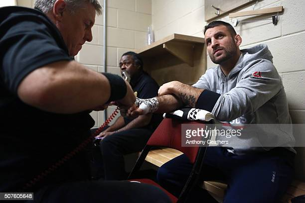 Tarec Saffiedine gets his hands wrapped backstage during the UFC Fight Night event at the Prudential Center on January 30, 2016 in Newark, New Jersey.