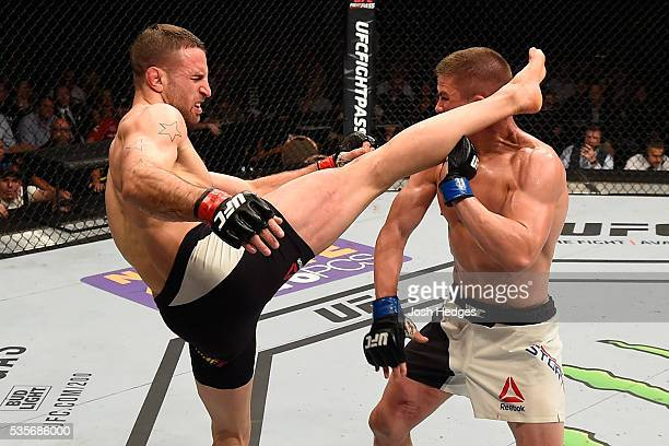 Tarec Saffiedine of Belgium kicks Rick Story in their welterweight bout during the UFC Fight Night event inside the Mandalay Bay Events Center on May...