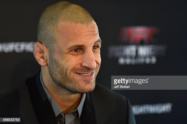 Tarec Saffiedine of Belgium speaks to the media during the UFC Fight Night Ultimate Media Day on October 2, 2014 in Halifax, Nova Scotia, Canada.