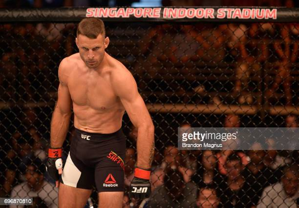 Tarec Saffiedine of Belgium stands in the Octagon prior to his welterweight bout against Rafael Dos Anjos of Brazil during the UFC Fight Night event...