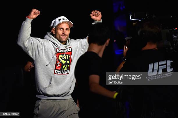 Tarec Saffiedine of Belgium walks to the stage during the UFC Fight Night weigh-in at the Scotiabank Centre on October 3, 2014 in Halifax, Nova...